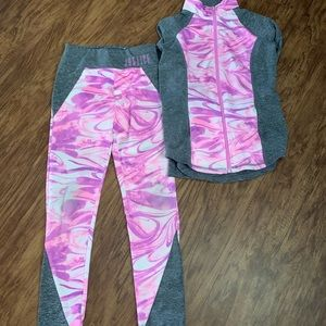 Justice leggings and zip up- size 8